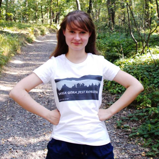 """T-shirt biały z nadrukiem """"Babia Góra jest kobietą"""""""