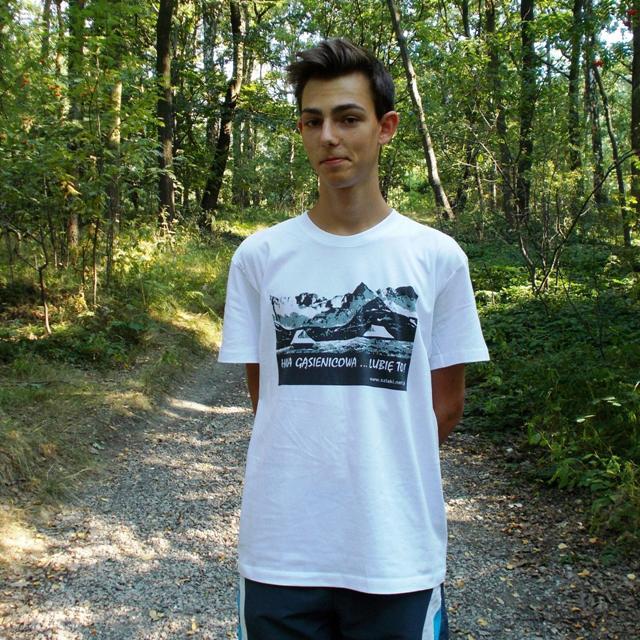 """T-shirt biały z nadrukiem """"Hala Gąsienicowa … Lubię to!"""""""