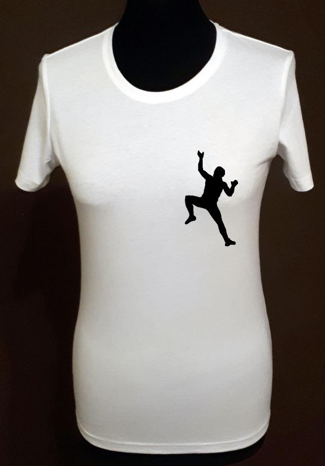 T-shirt biały z nadrukiem sylwetki wspinacza